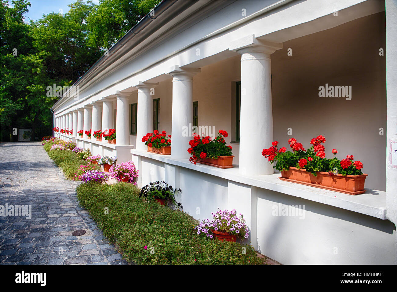 Traditional Hungarian Country House with a Veranda, Vacratot Botanical Garden, Hungary - Stock Image
