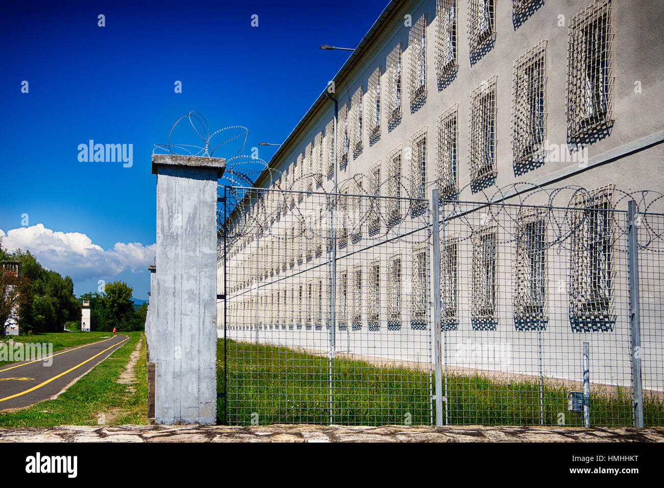 Barbed Wire Fence, State Penitentiary, Vac, Pest County, Hungary Stock Photo