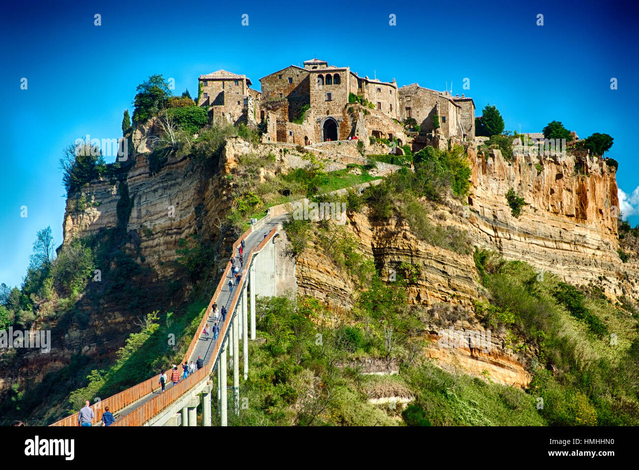 Low Angle View of a n Ancient Hilltop Town, Civita di Bagnoregio, Umbria, Italy - Stock Image