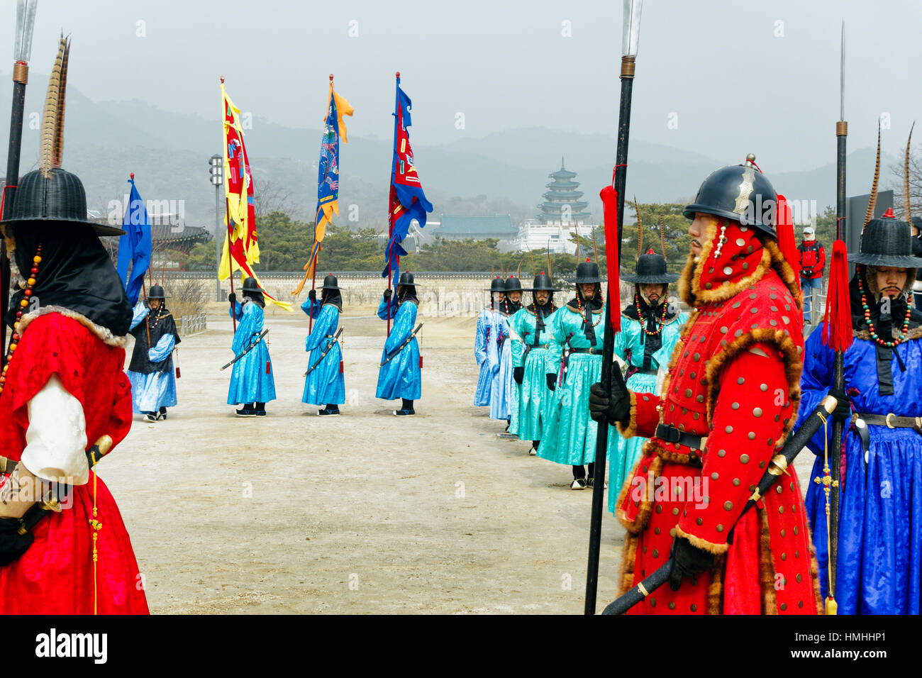 Royal Guard Inspection Ceremony, Gyeongbokgung Palace, Seoul, South Korea - Stock Image