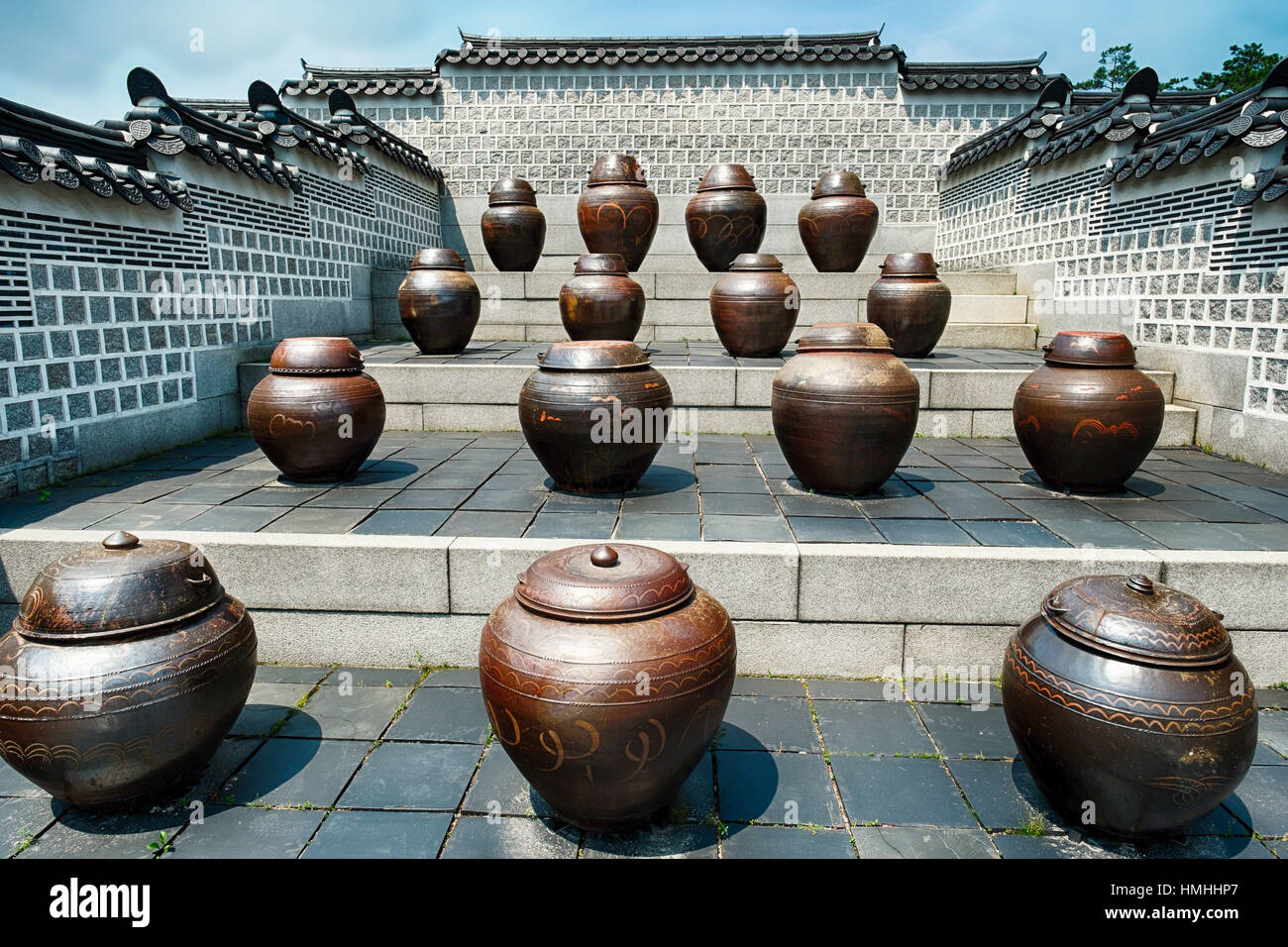 Large clay Fermentation Jars at Jango in Gyeongbokgung Palace - Stock Image