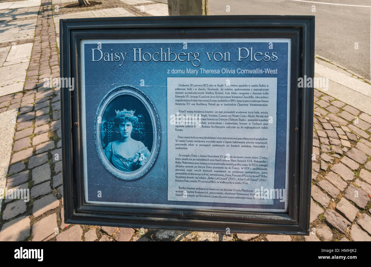 Information sign at Memorial to Daisy, Princess of Pless (Daisy Hochberg von Pless), monument at Rynek in Pszczyna, - Stock Image