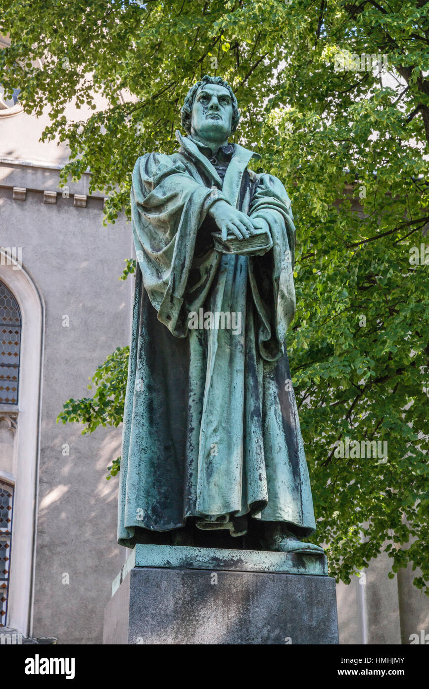 Martin Luther statue, 1900, by Franz Vogel, Evangelical city quarter in Bielsko-Biala, Silesia, Poland - Stock Image