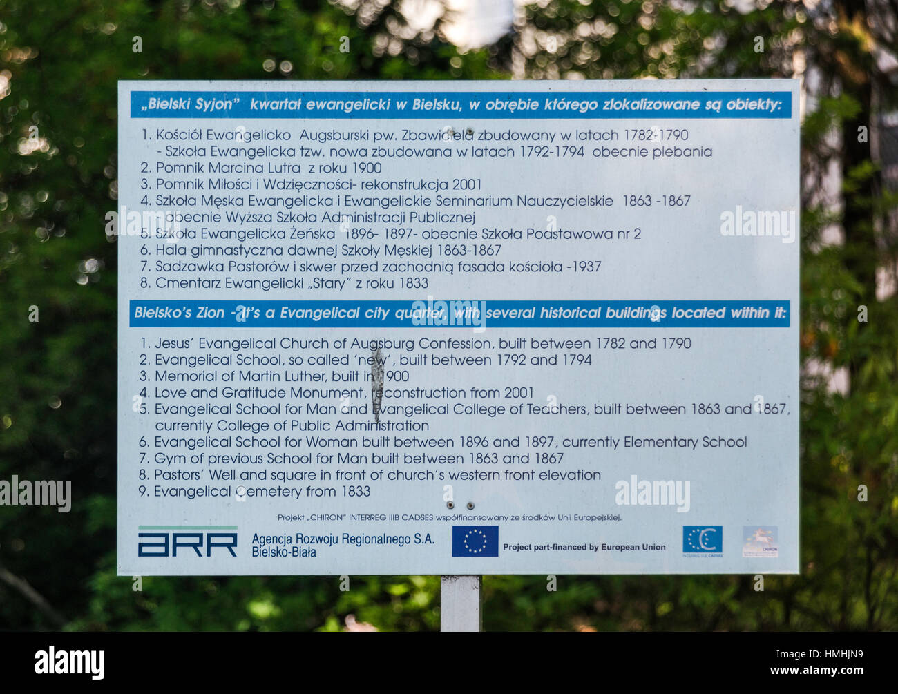 Bilingual information sign at Evangelical City Quarter in Bielsko-Biala, Silesia, Poland - Stock Image