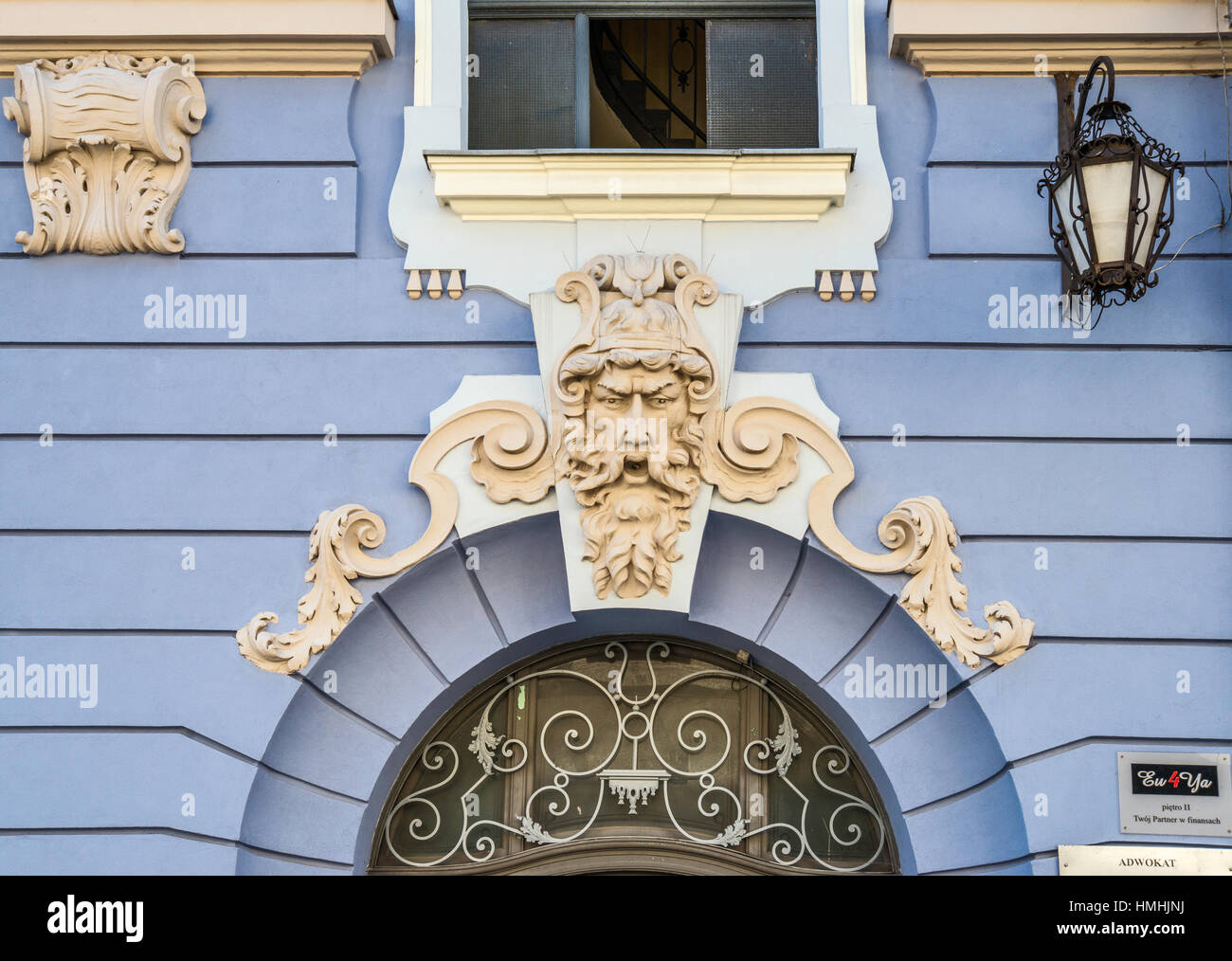 Detail of building at Podcienie, street in Old Town district of Bielsko-Biala, Silesia, Poland - Stock Image
