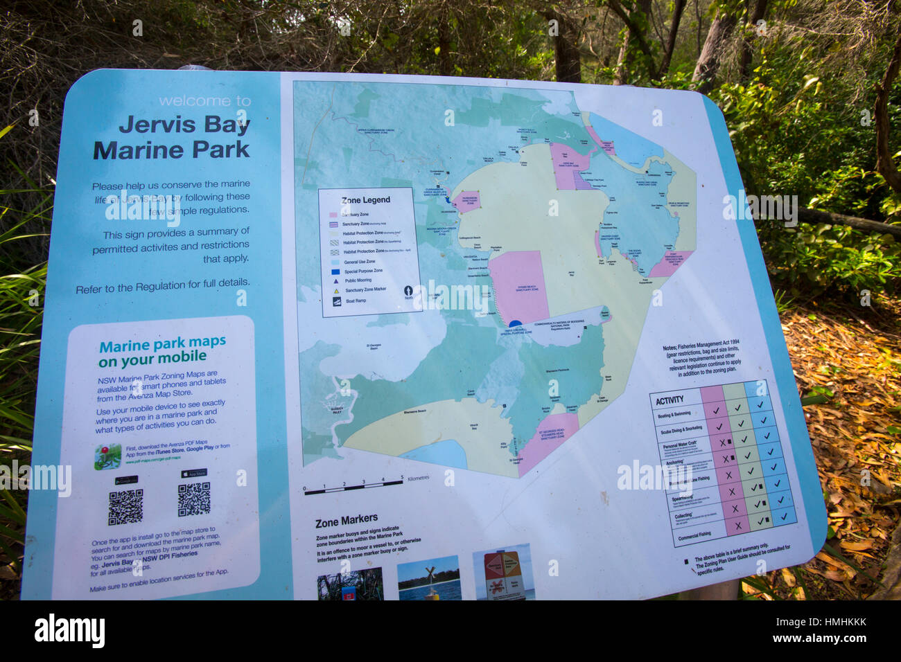 Australia Map Jervis Bay.Map Sign Of Jervis Bay Marine Park On South Coast Of New South Stock
