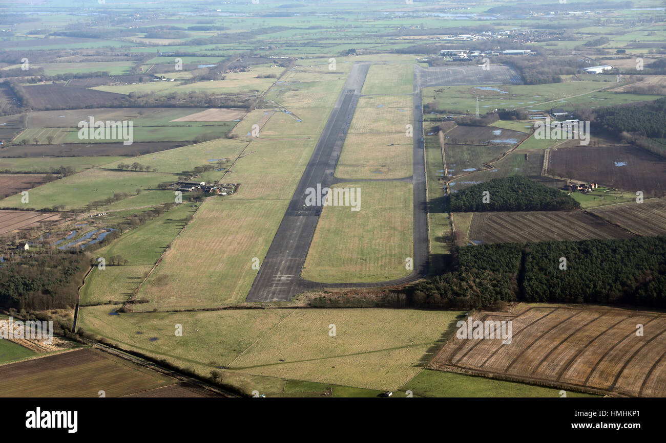 aerial view of Elvington Aerodrome in Yorkshire, UK, where Richard Hammond had a serious car accident - Stock Image