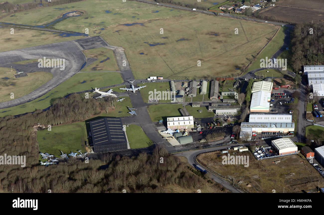 aerial view of Yorkshire Air Museum at Elvington Airfield, York, UK - Stock Image