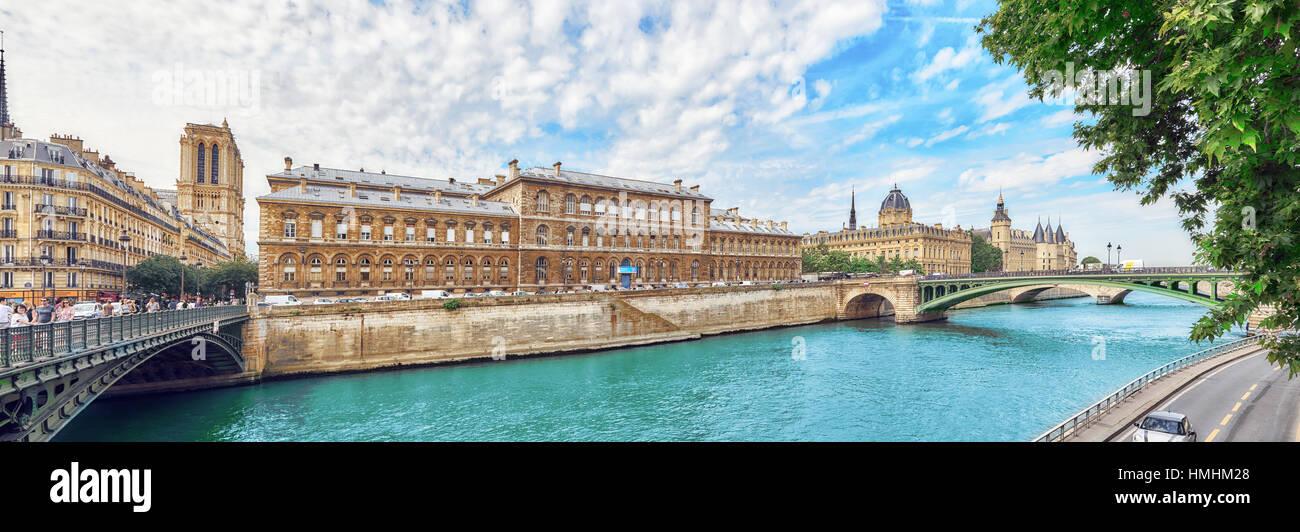 PARIS, FRANCE - JULY 08, 2016 :Castle - Prison Concierges and Exchange Bridge on the Seine in Paris. France. - Stock Image