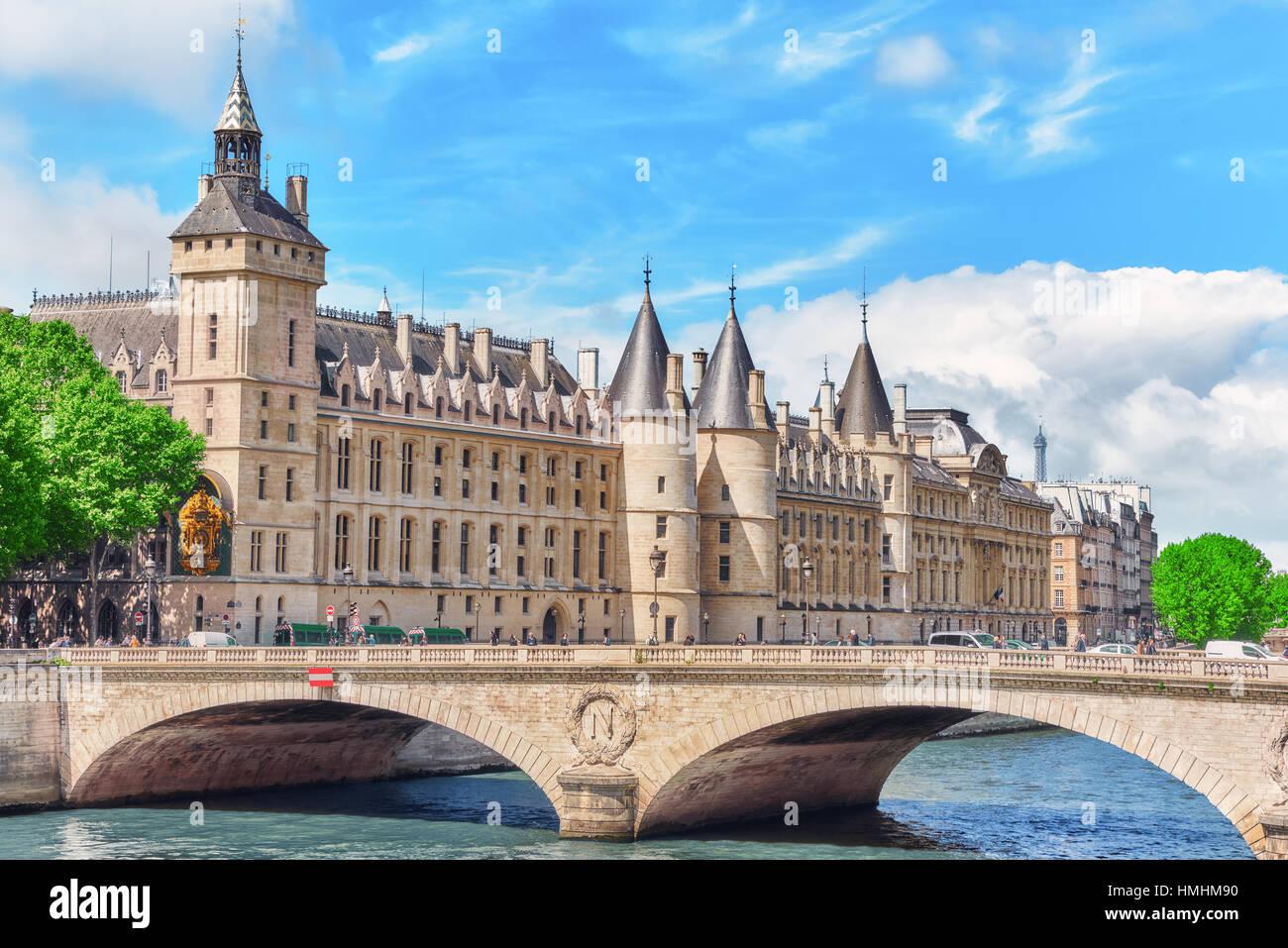 PARIS, FRANCE - JULY 04, 2016 :Castle - Prison Concierges and Exchange Bridge on the Seine in Paris. France. - Stock Image
