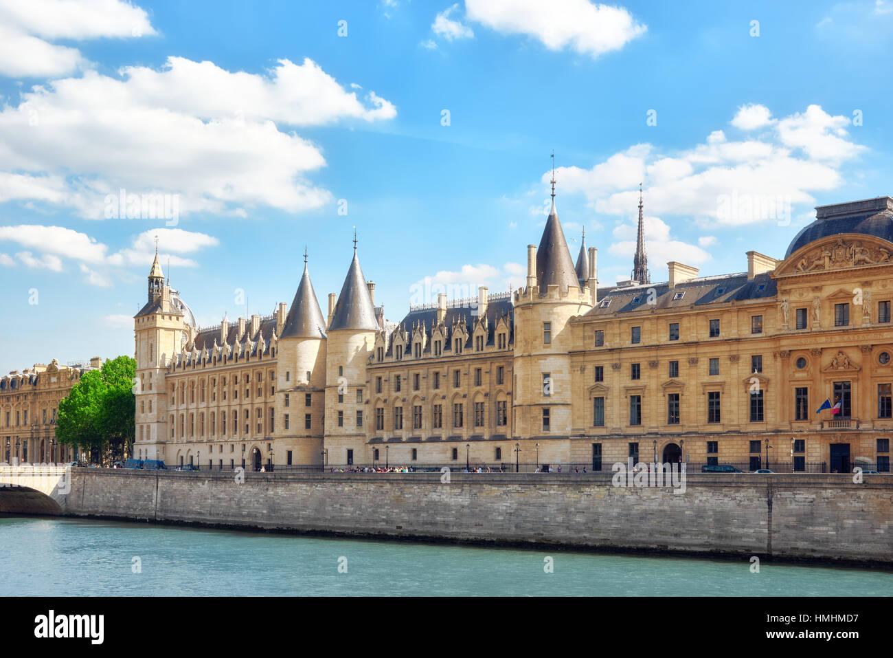 PARIS, FRANCE - JULY 06, 2016 : Castle - Prison Concierges seafront of  the Seine  river in Paris. France. - Stock Image