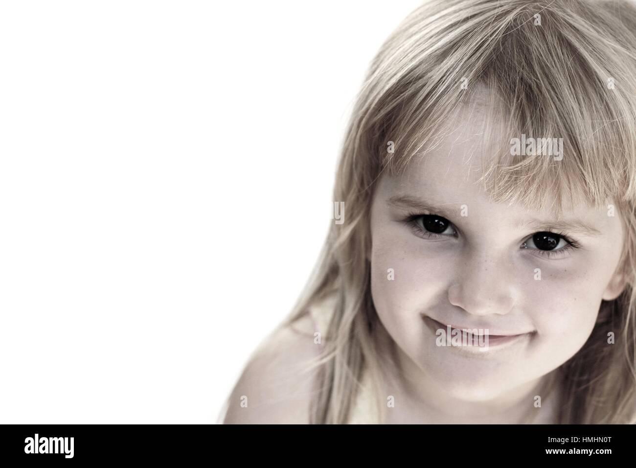 Sweet Blonde Little Girl With A Gentle Sweet Smile Portrait Brown Eyes Blonde Hair