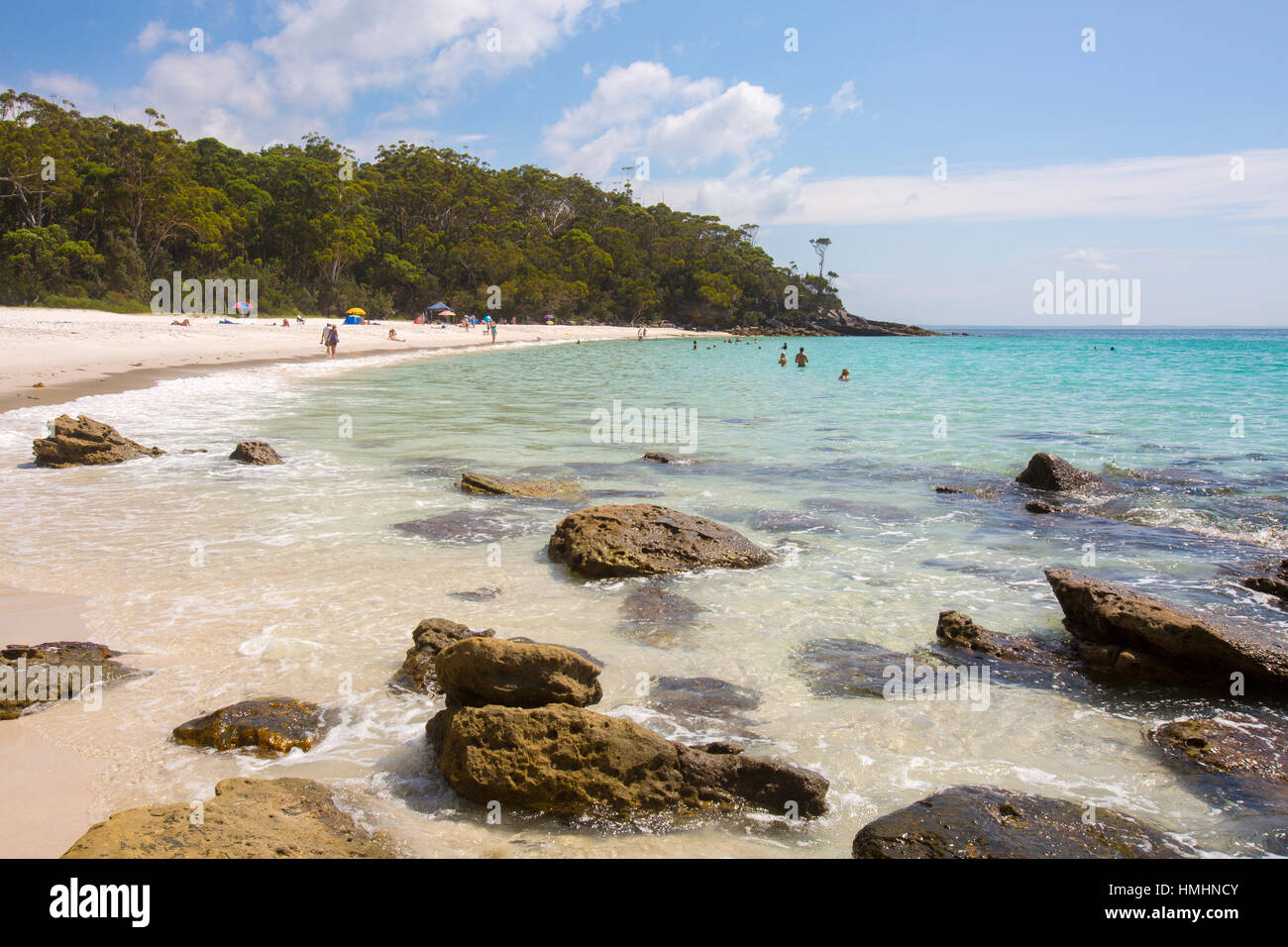 Greenfield Beach with soft white sand, Jervis bay,  in summer,New South Wales,Australia - Stock Image