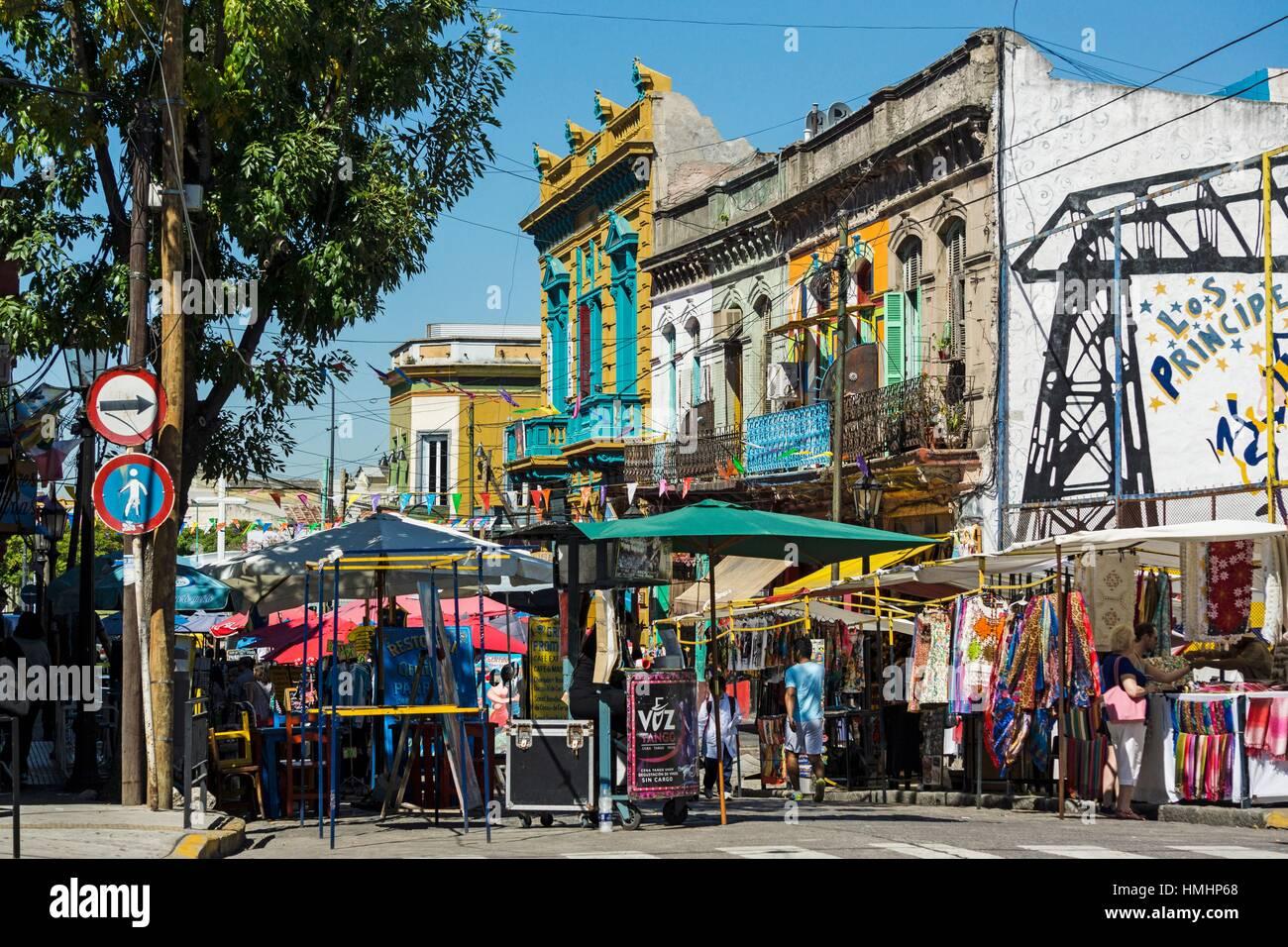 Caminito street, La Boca neighborhood, Buenos Aires, Argentina - Stock Image