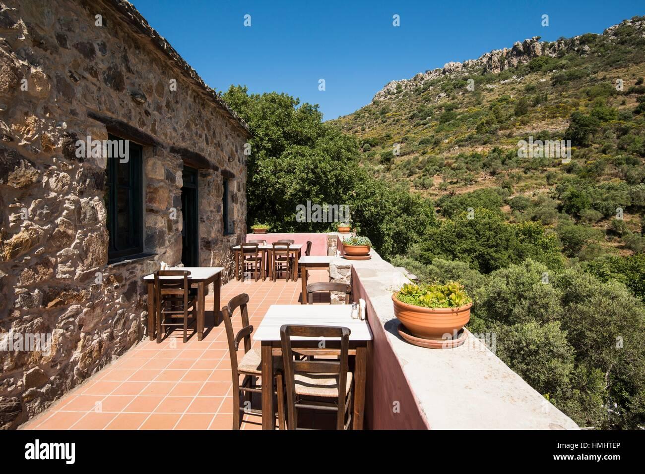 Restaurant balcony at Milia Mountain Retreat in Crete, Greece. - Stock Image