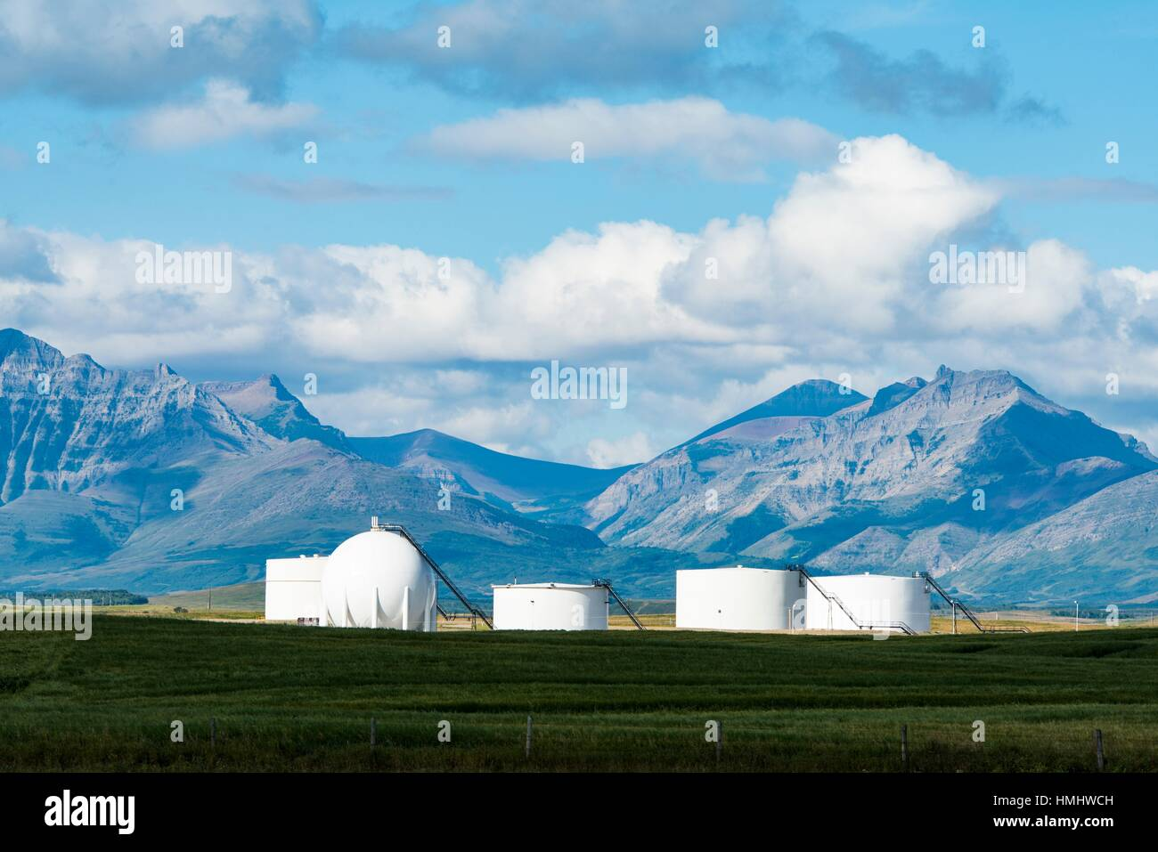 Gas storage containers near Twin Butte Alberta Canada south of