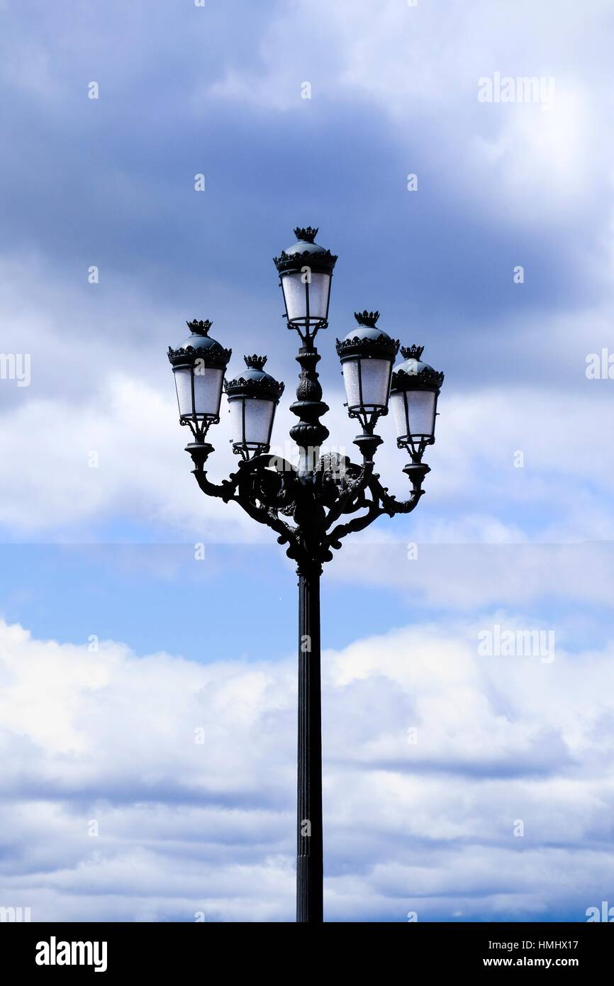 Classic lamp post in Madrid, Spain, Europe. - Stock Image