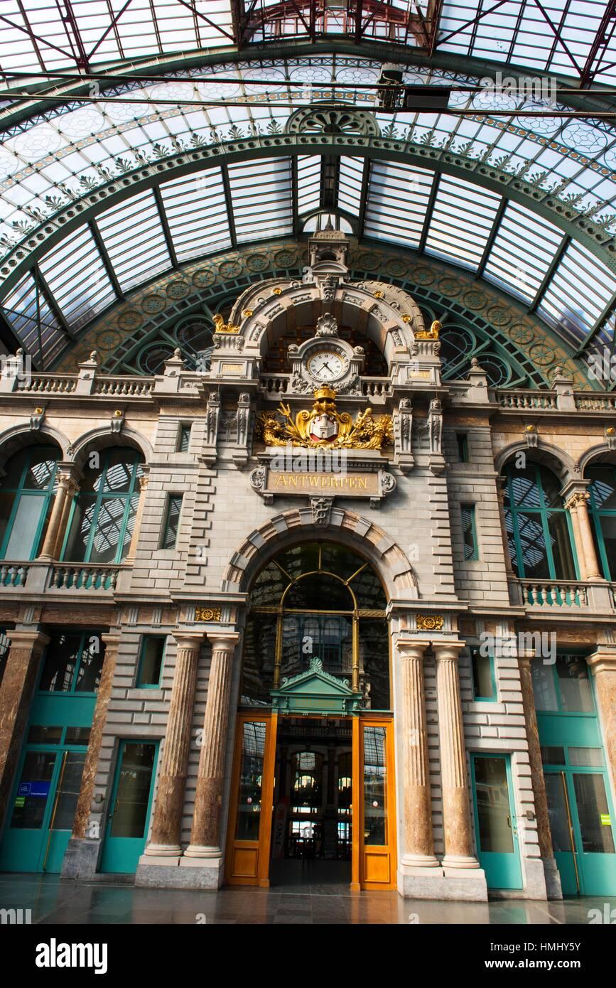 Antwerpen-Centraal railway station, Antwerp, Belgium, Europe - Stock Image