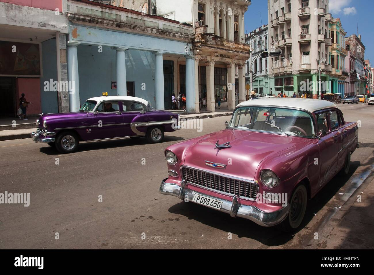 Old American Cars At Center Havana La Habana Cuba Central America