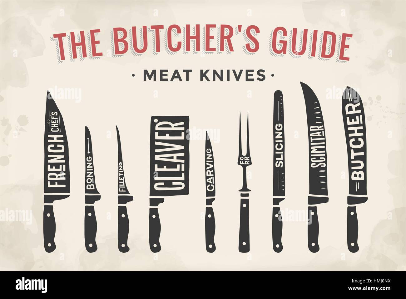 meat cutting knives set poster butcher diagram and scheme HMJ0NX meat cutting knives set poster butcher diagram and scheme stock