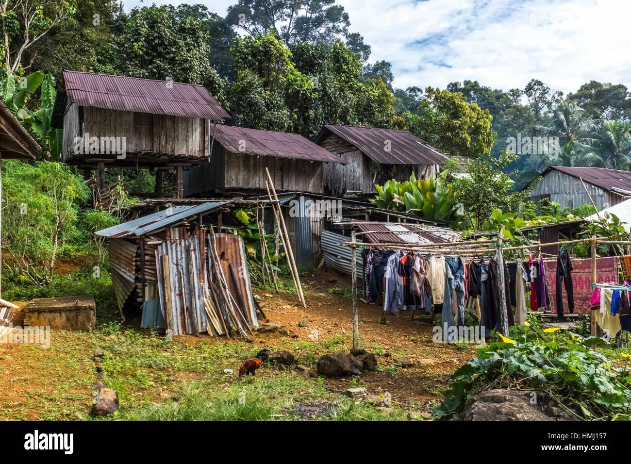 A Bidayuh storage house in Kampung Tarat, Serian, Sarawak, Malaysia. - Stock Image