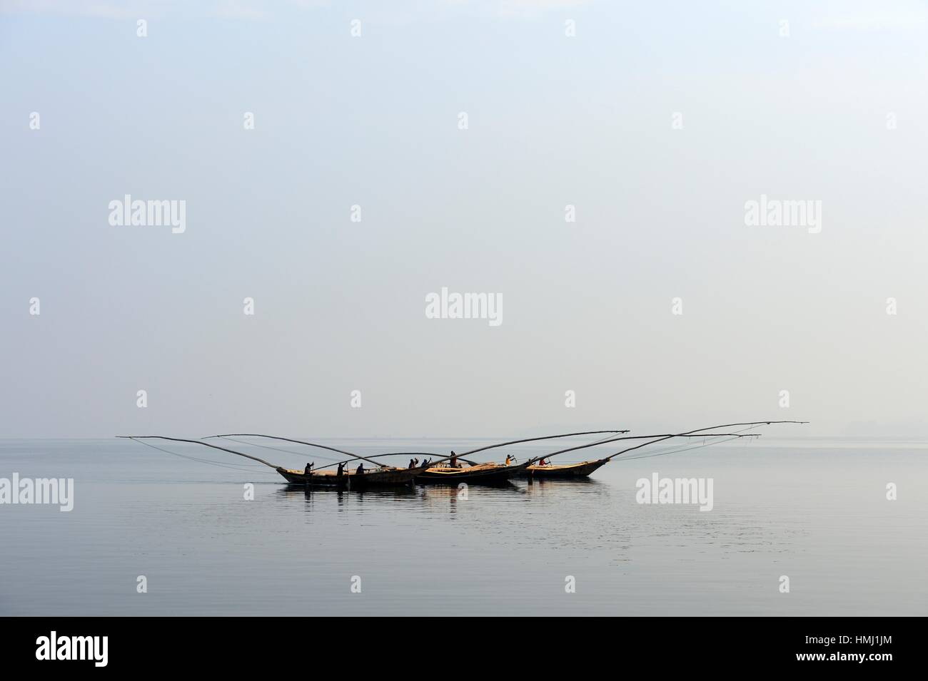 Fishermen in their boats on Lake Kivu ,Democratic Republic of Congo, Africa. - Stock Image