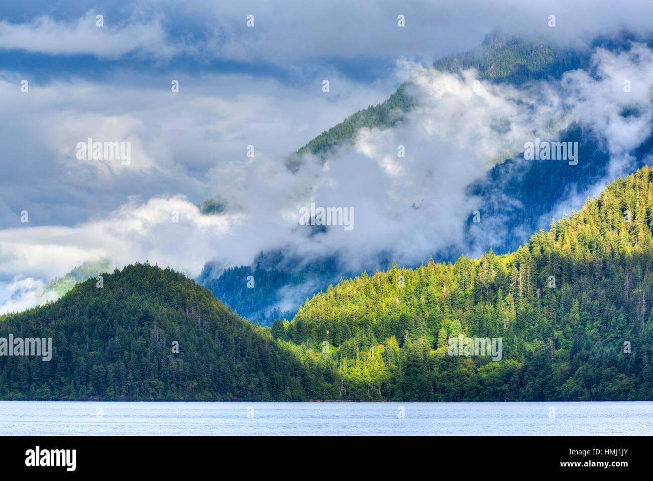 Cresent Lake and Aurora Ridge in background, Olympic National Park, UNESCO World Heritage Site, Washington State, - Stock Image