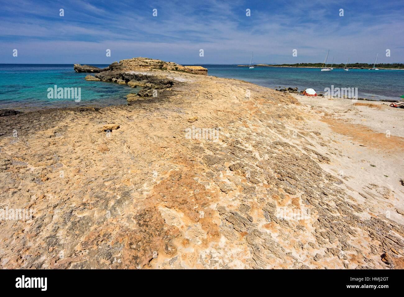 Punta Negra, Santanyi, Ã. rea Natural de Especial Interés, Mallorca, Balearic Islands, Spain - Stock Image
