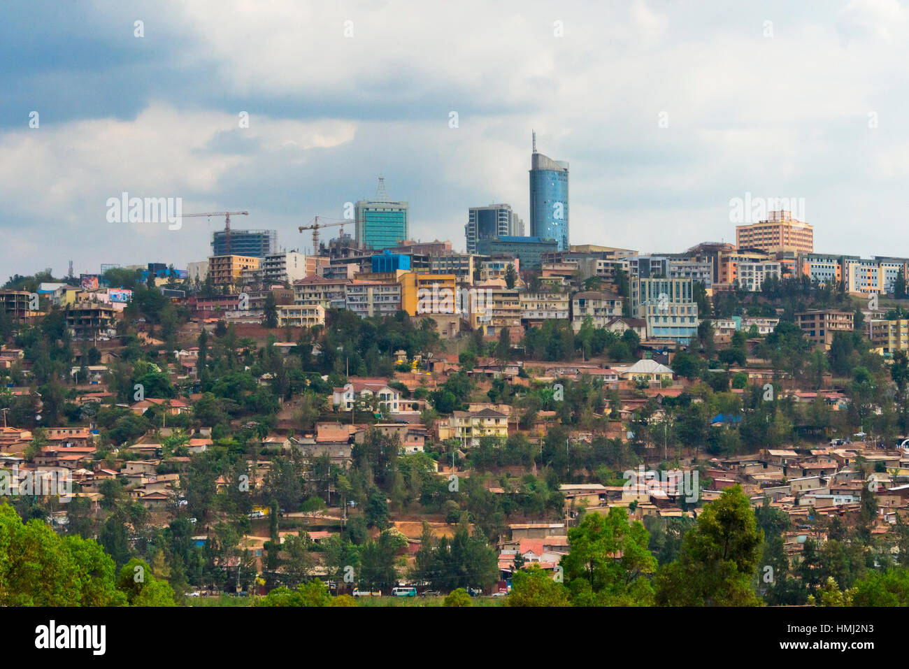 Cranes and high rises in downtown, Kigali, Rwanda - Stock Image