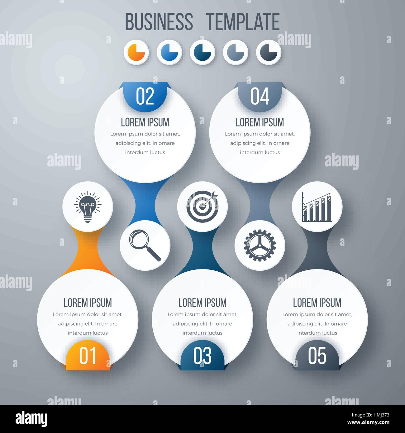 Infographics template five options with circles. Can be used for ...