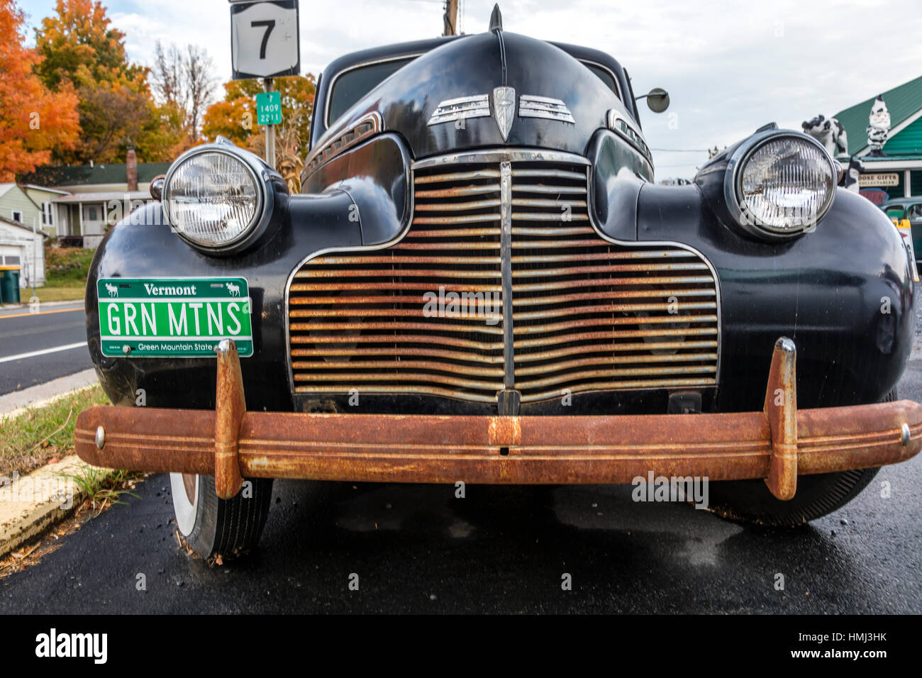 Close up view of antique car with Vermont License Plates reading  Green Mountains  New England October 16 2016 & Close up view of antique car with Vermont License Plates reading ...