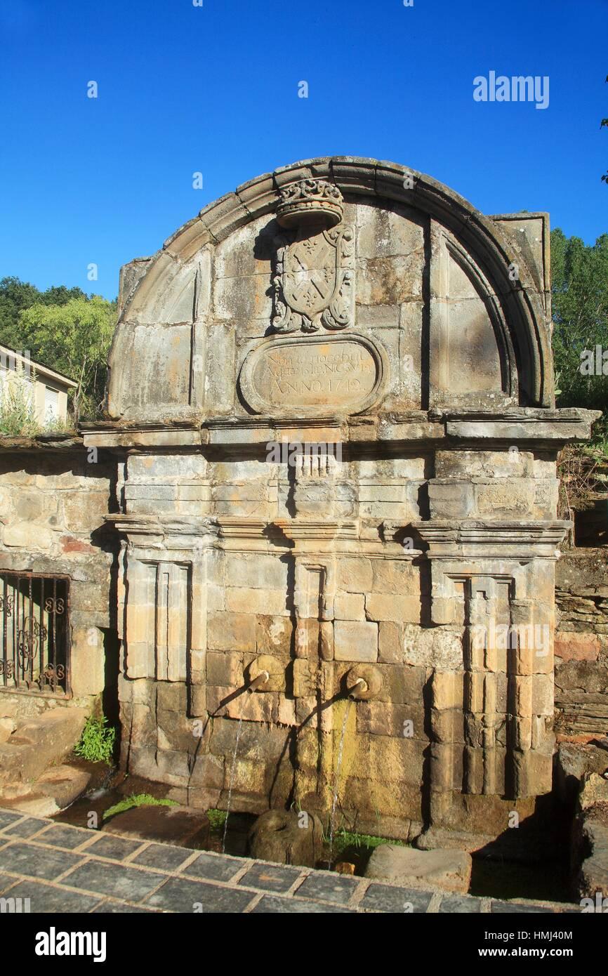 Source of life (1742) in the monastery of St. Andrew. XVII - XVIII. Neoclásico. Vega de Espinareda. León. - Stock Image