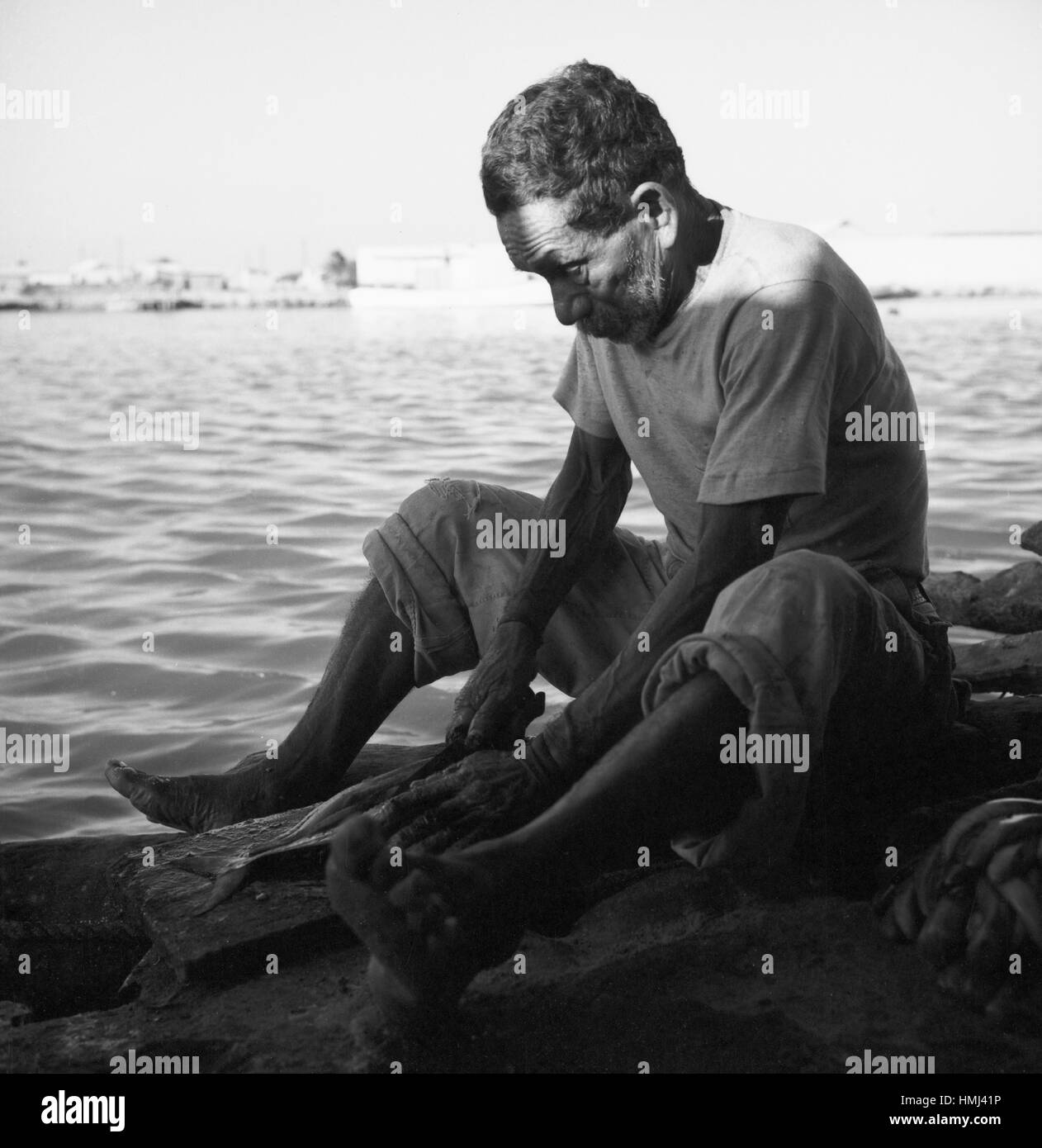 Mann am Rio Manzanares in Cumaná schneidet Fisch auf, Venezuela 1966. Man next to the Rio Manzanares in Cumaná cuts Stock Photo