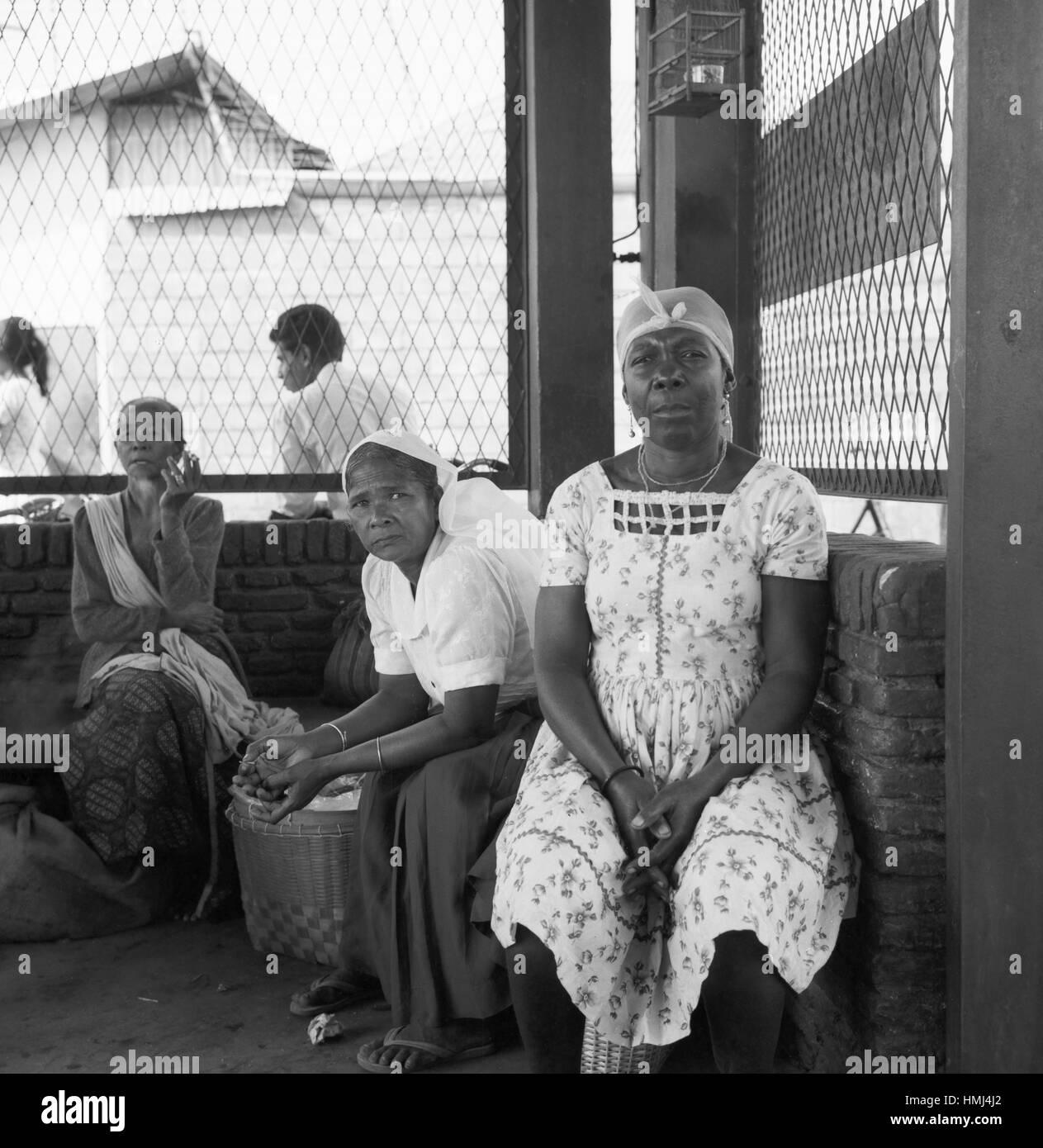 Frauen in Paramaribo, Suriname 1966. Women in Paramaribo, Suriname 1966. - Stock Image