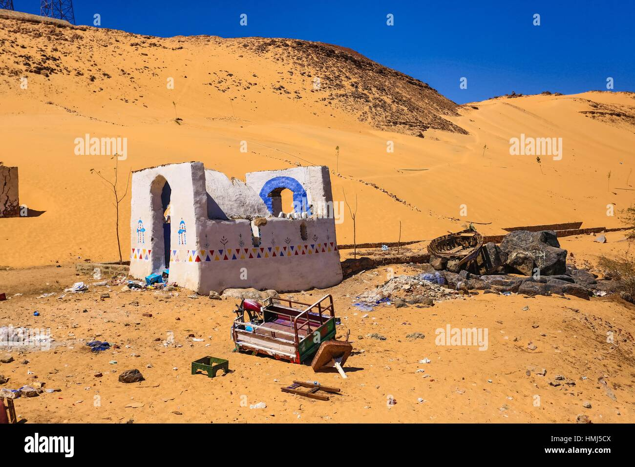 Nubia house, Upper Egypt, Africa - Stock Image