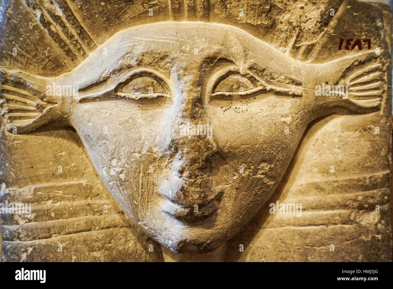 Hathor Goddess of feminine love and motherhood. Egyptian Pharaonic collection. Gayer Anderson Museum. Cairo, Egypt - Stock Image