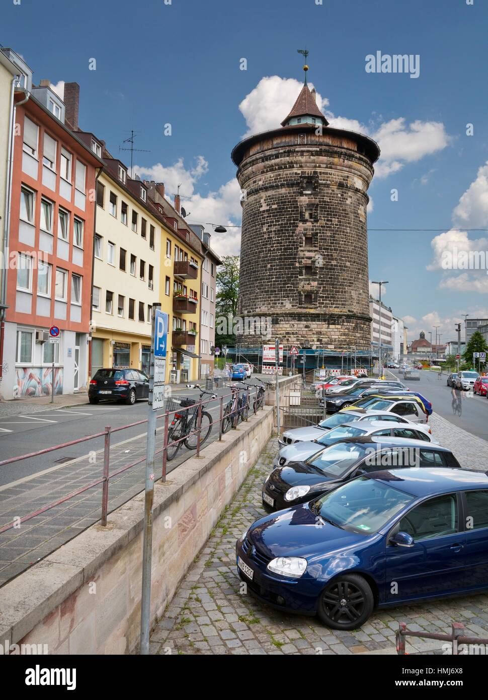 Outside runner Pl. and towerl in Nuremberg. Germany. Europe. - Stock Image