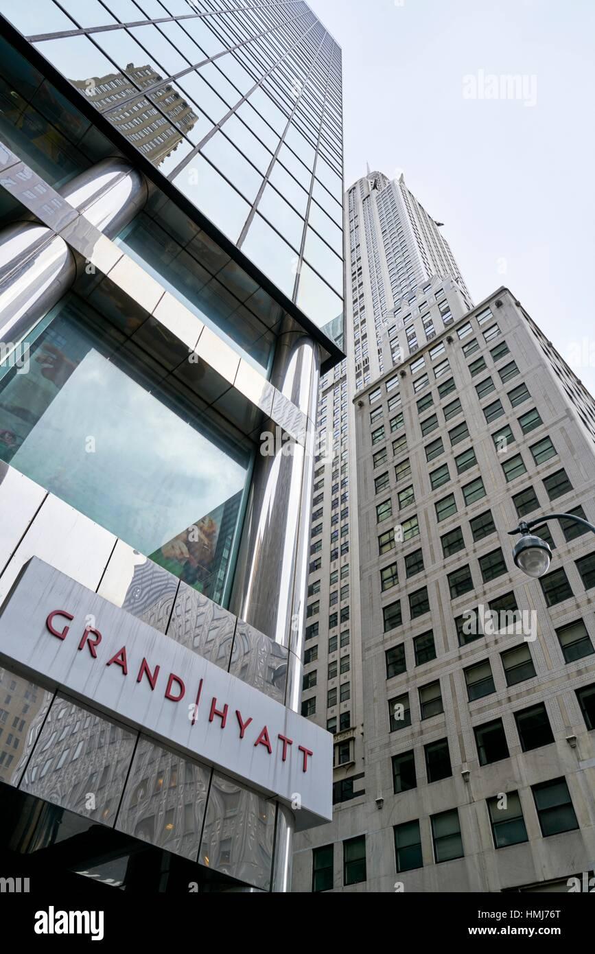Low angle view of Grand Hyatt 5 star hotel and Chrysler Building. 42st Manhattan, New York City, USA - Stock Image
