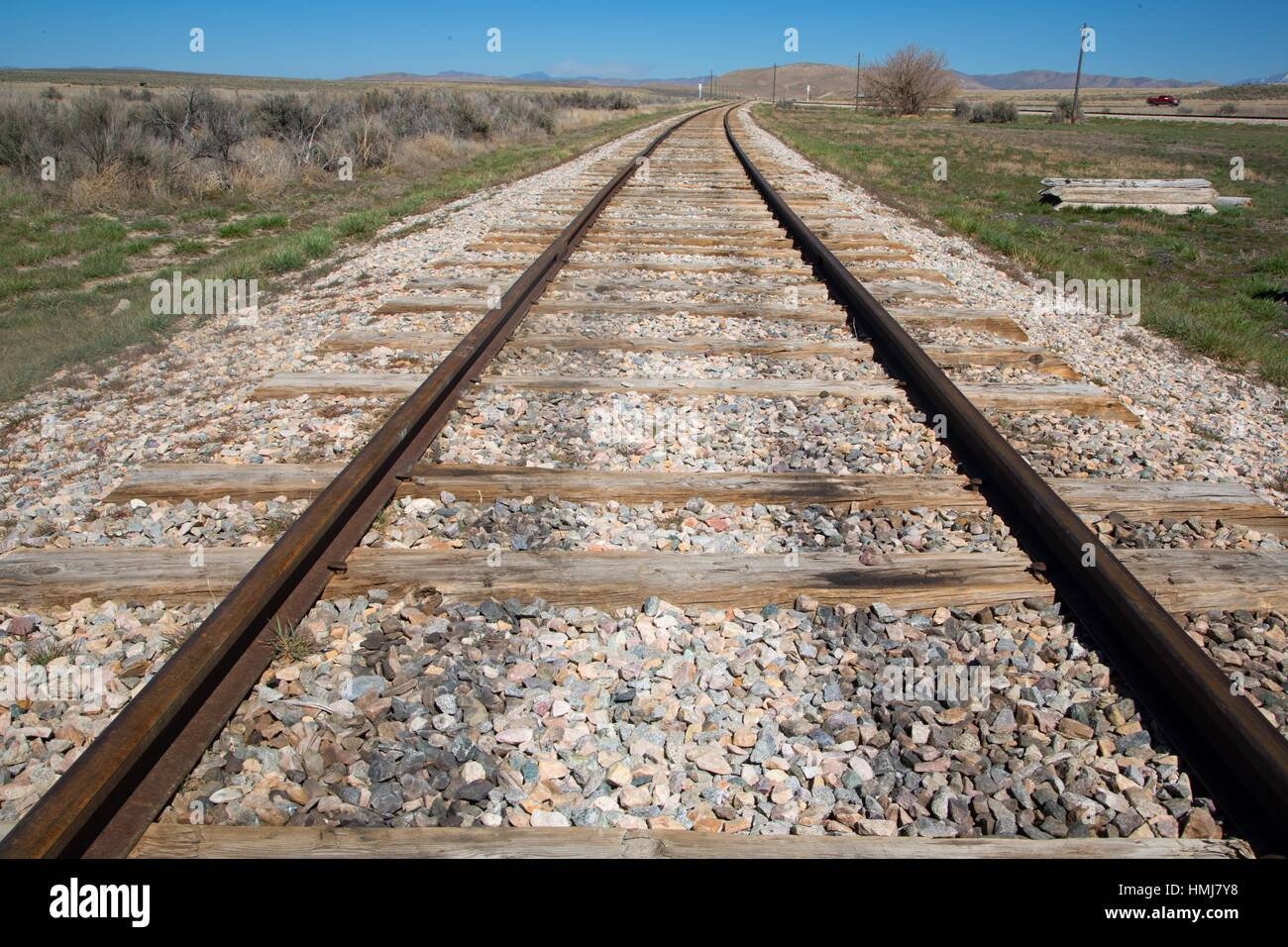 Railroad tracks, Golden Spike National Historic Site, Box Elder County, Utah. - Stock Image