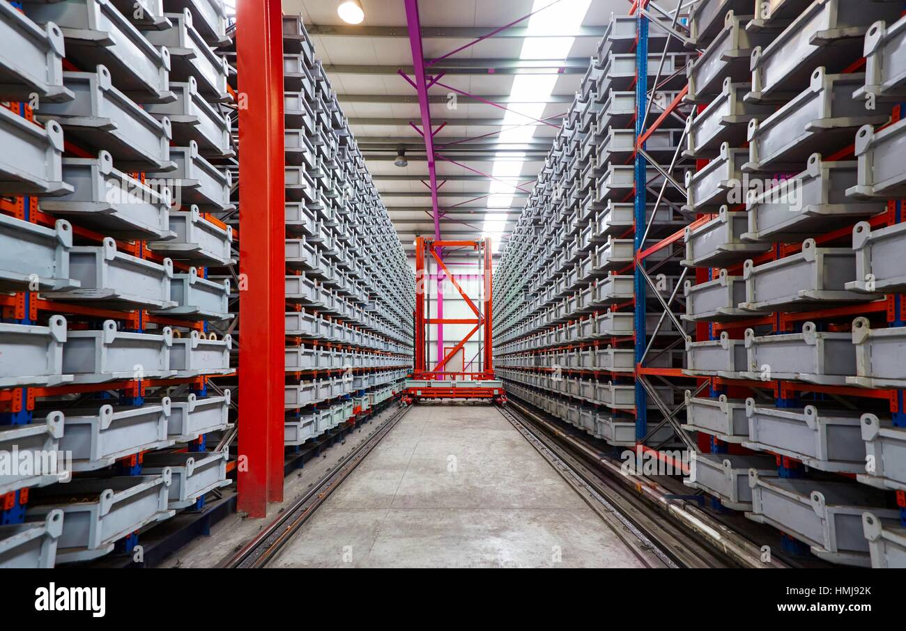 Automated warehouse, boxes, industry - Stock Image