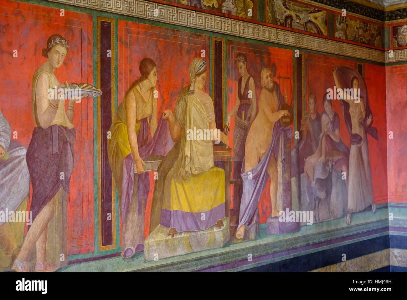 Roman frescoes at Villa of the Mysteries, Pompeii the ancient Roman town near Naples, Campania, Italy, Europe - Stock Image