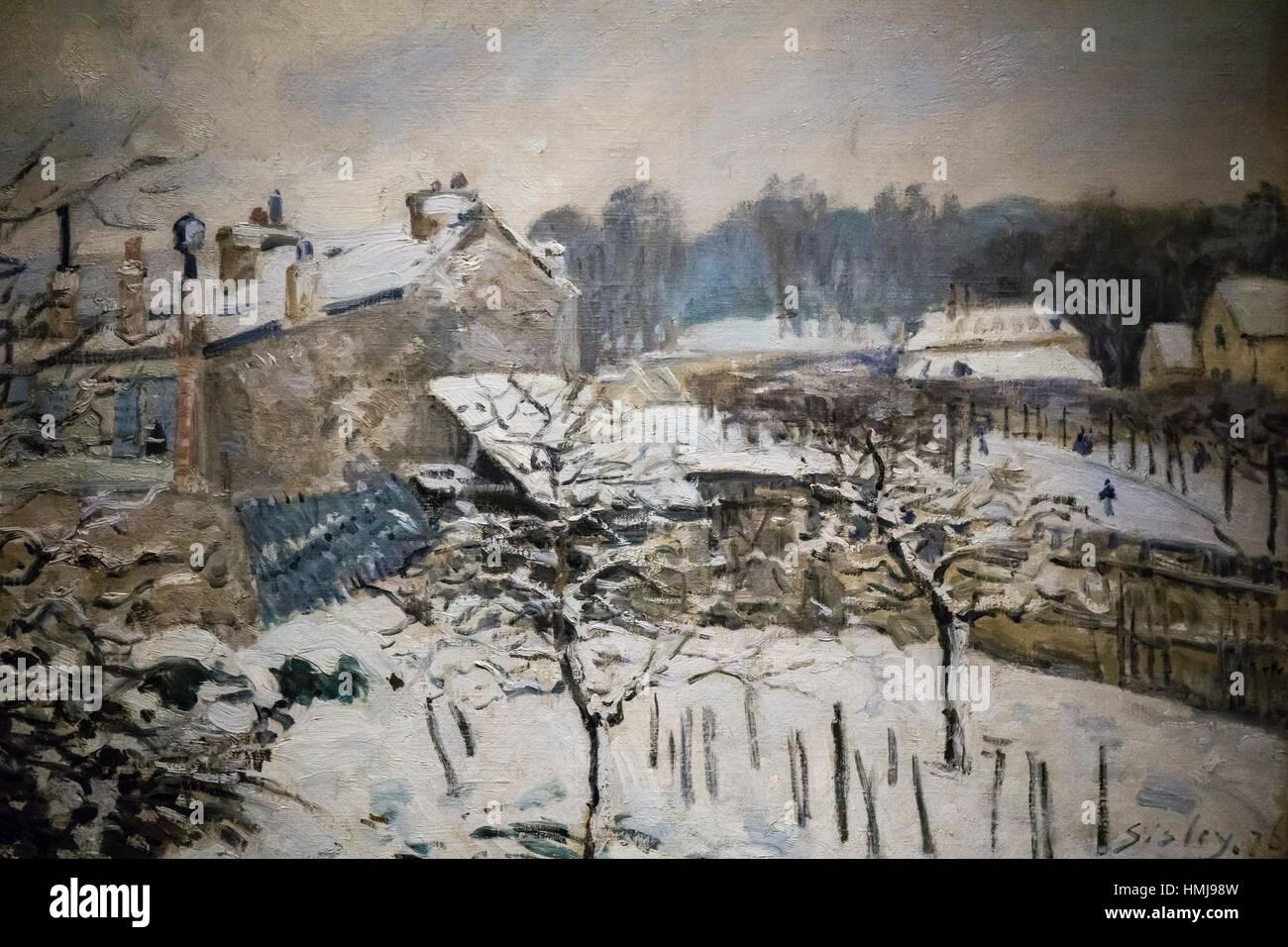 Effet de neige à Louveciennes (Snow Effect at Louveciennes), oil on board, Alfred Sisley. Museo Nacional de - Stock Image