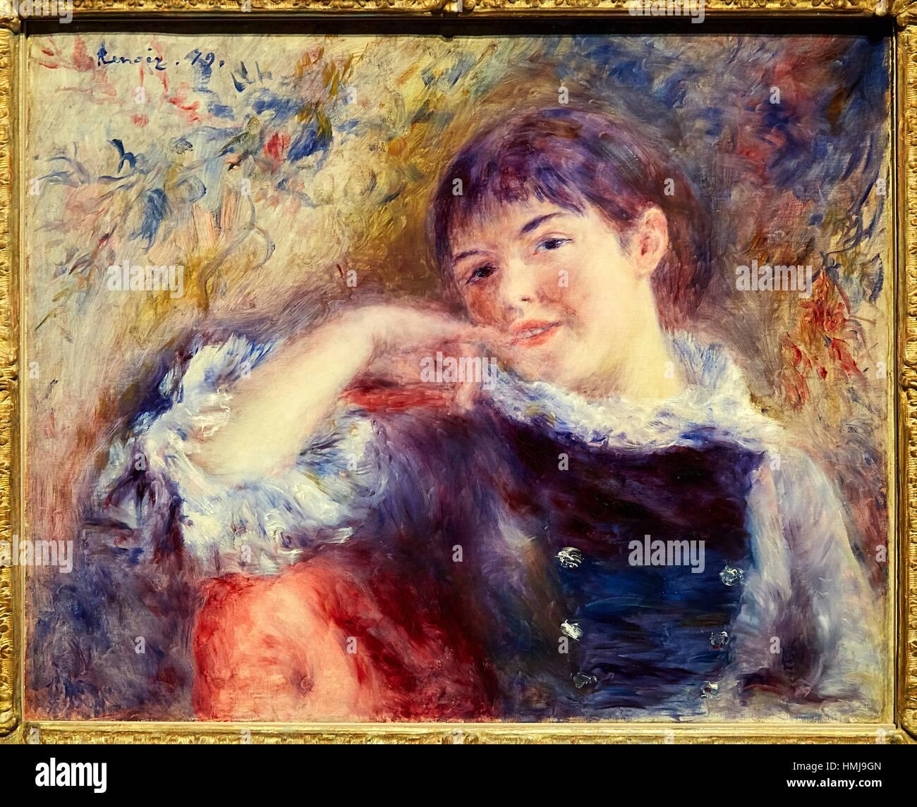 '''The Dreamer'' 1879, Pierre-Auguste Renoir - Stock Image