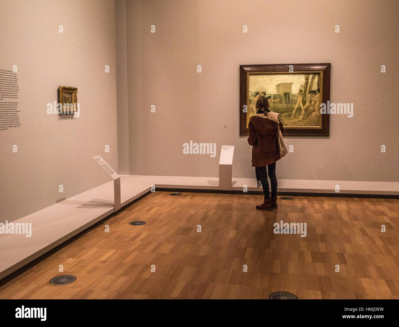 People wander around anart exhibition (Degas) in Melbourne, Victoria, Australia. Stock Photo