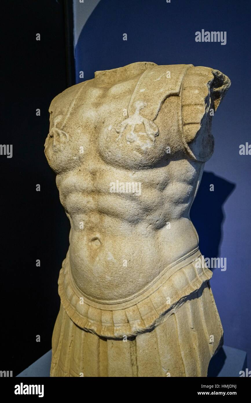 Hellenistic Armoured Sculpture from Akropolis. Bergama Museum. Ancient Classic Greece. Asia Minor. Turkey. - Stock Image