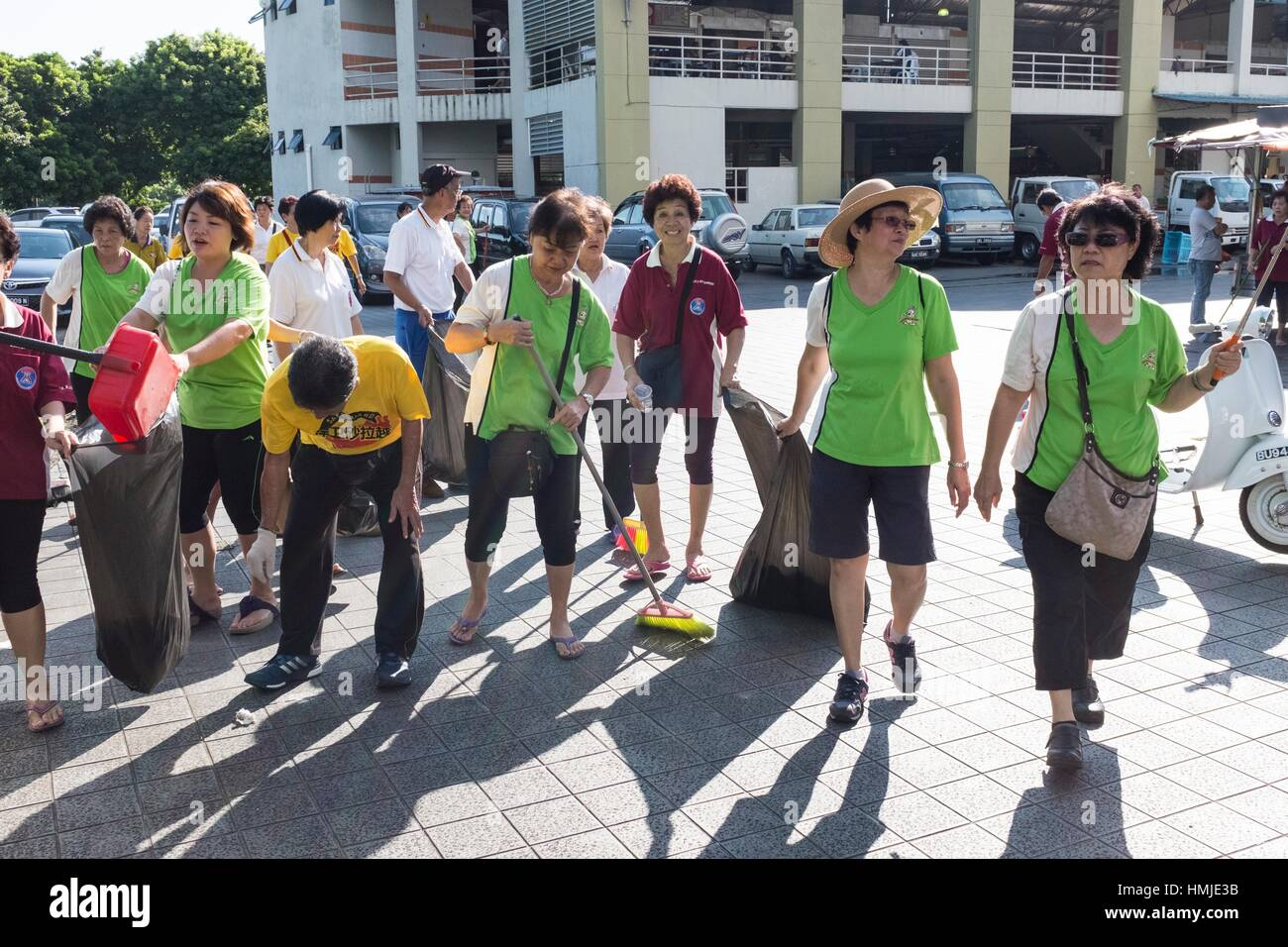 Cleanliness campaign at Sungai Maong Vegetable Market, Kuching, Sarawak, Malaysia. - Stock Image