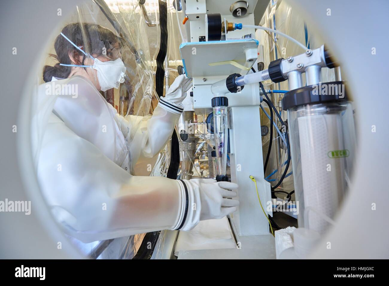 Spray Dryer. Hood. Pharmaceutical Development Laboratory. Pre-formulation, design and development of drugs and new - Stock Image