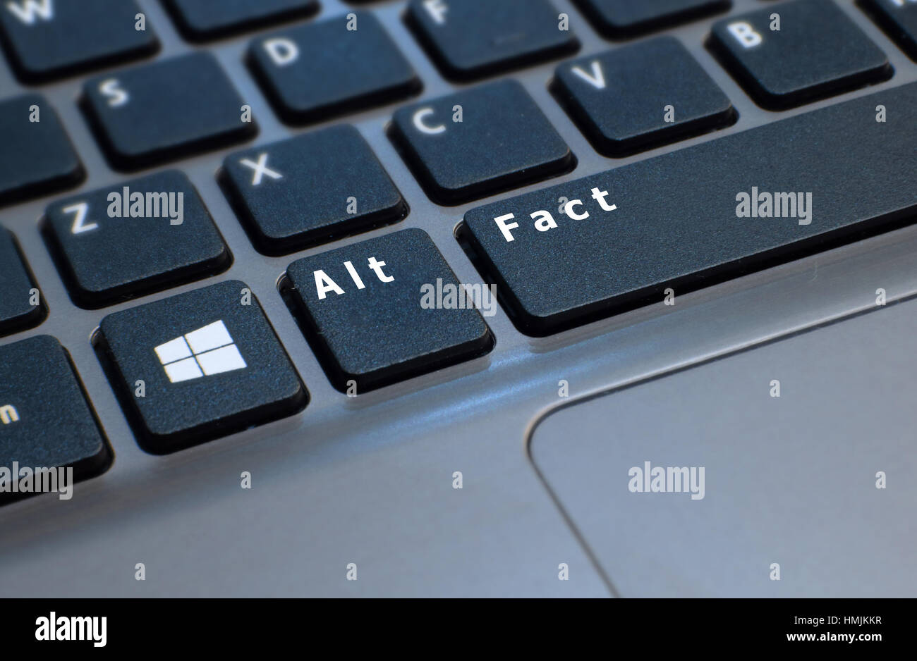 A computer keyboard retouched to show Alt FACT referencing Trump spokesman's claim to have 'alternative facts' over Stock Photo