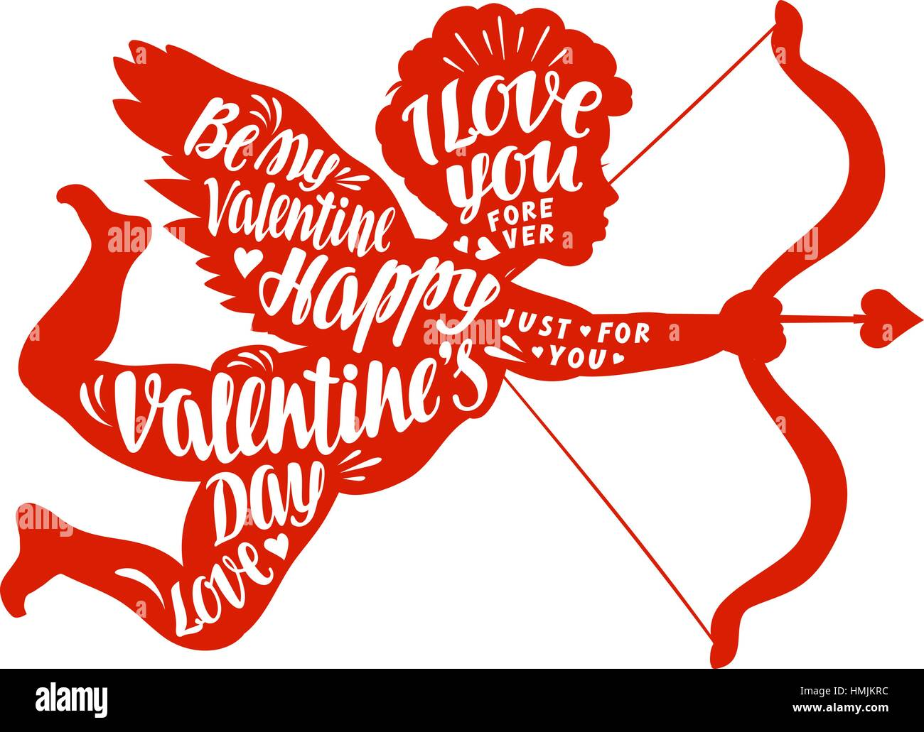 Happy Valentine S Day Lettering Calligraphy In Shape Angel Vector
