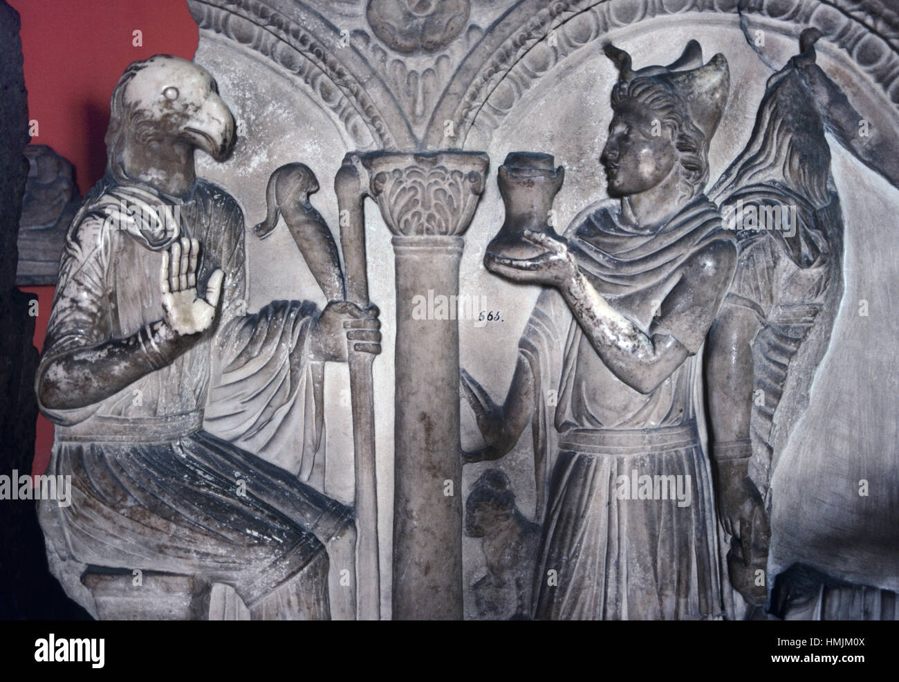Roman Sarcophagus (c4th BC) Showing Roman with an Eagle's Head from the Ancient Roman Town of Hierapytna, now Ierapetra, Stock Photo